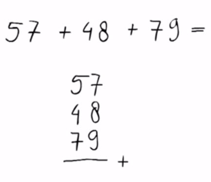 hele getallen, Optellen van meerdere getallen (met 'onthouden') voor groep 3