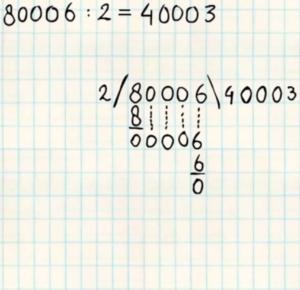 staartdeling met nullen in het antwoord