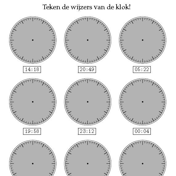 Vaak Tijd 2 - Klokkijken, digitale klok - de sommenfabriek JB53
