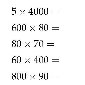 Rekenen groep 5: Uit het hoofd twee getallen die bestaan uit één cijfer gevolgd door een aantal nullen met elkaar vermenigvuldigen
