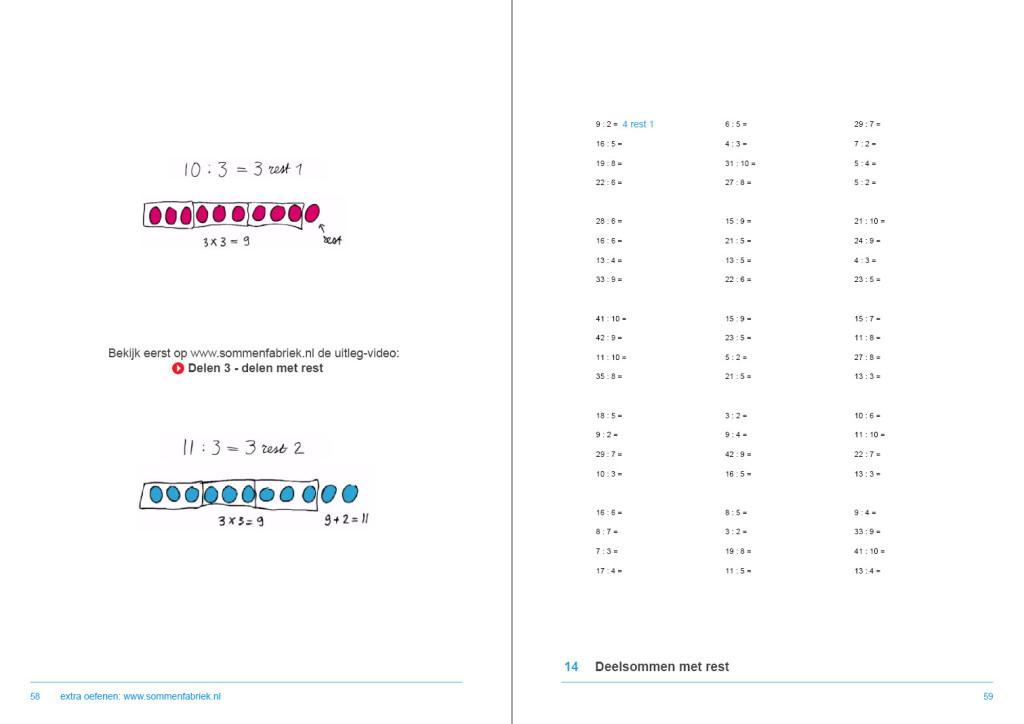 werkboek hele getallen, delen met rest