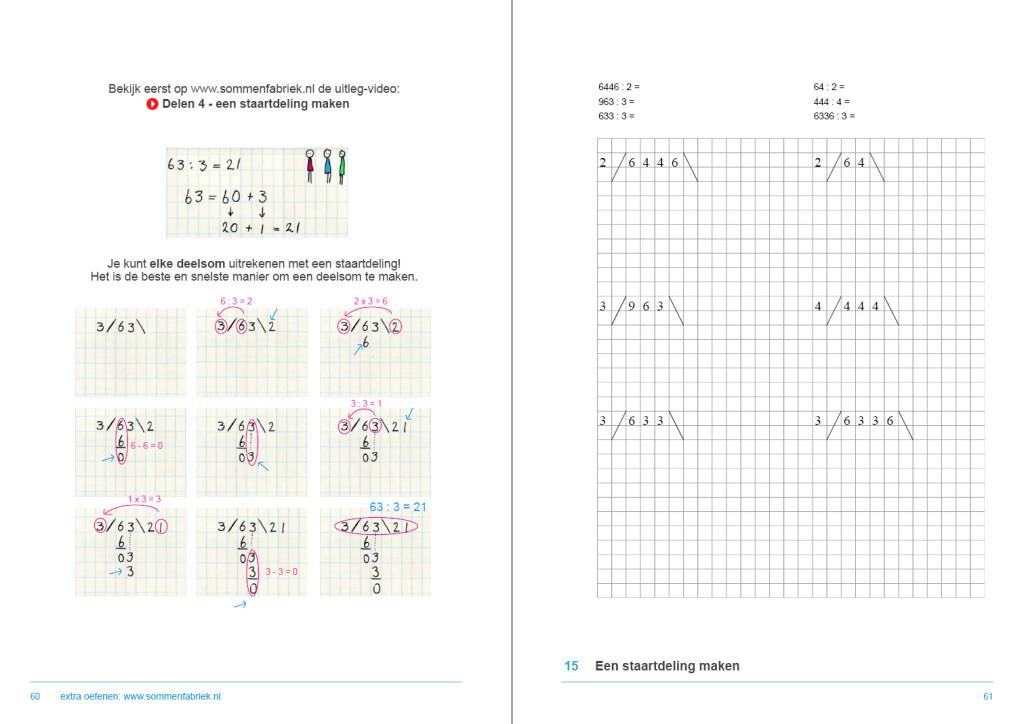 werkboek hele getallen, hoe maak je een staartdeling