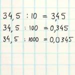Kommagetallen delen door 10, 100, 1000, enz.