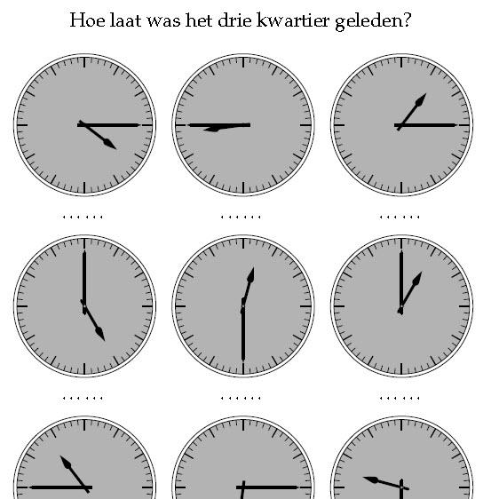 klokkijken halve en halve uren wijzers tekenen