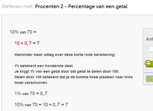 oefenen met percentage berekenen
