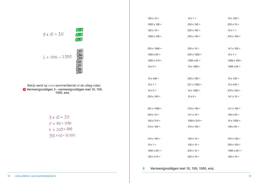 werkboek hele getallen, vermenigvuldigen met factor 10